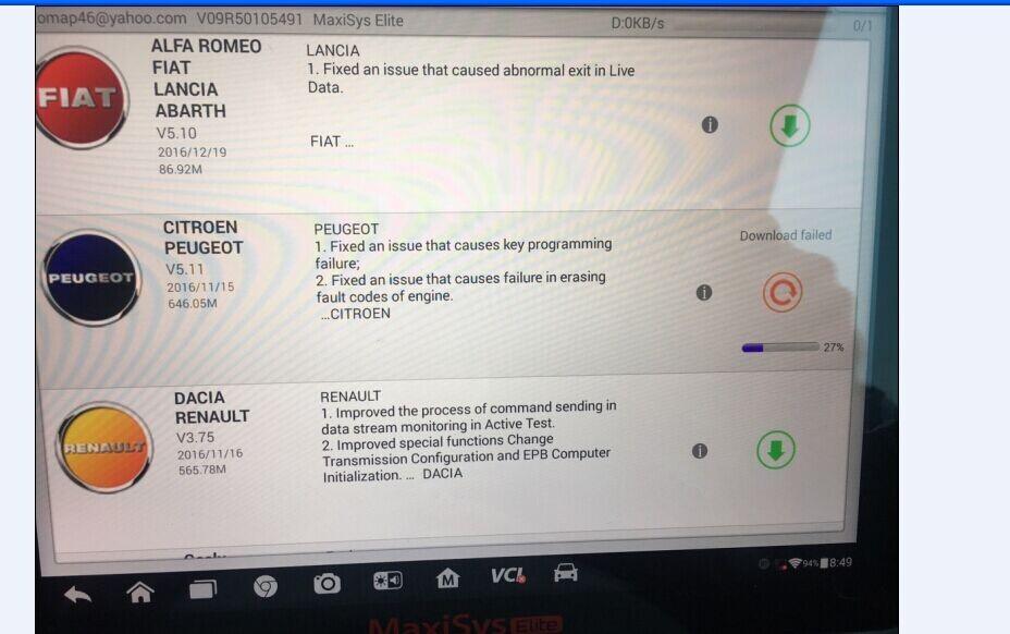 Autel MaxiSys Elite Update Error